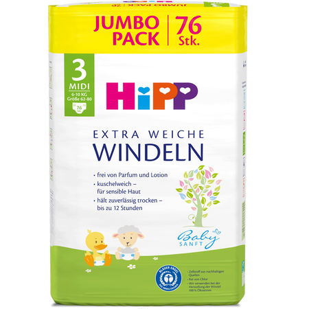 HiPP Babysanft Windeln Midi 3 6-10kg Jumbo Pack