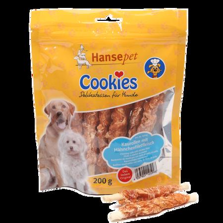 Hansepet Hundesnack Cookies Delikatess Hähnchenfillet auf Kaurolle