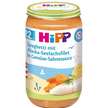 HiPP Spaghetti mit Alaska-Seelachsfilet in Gemüsesahnesauce