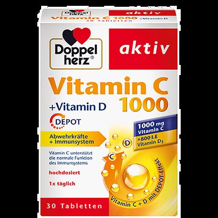 DOPPELHERZ Vitamin C 1000 + Vitamin D