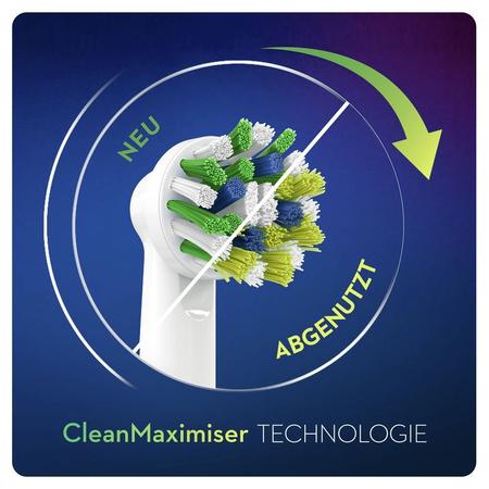 Oral-B CrossAction Aufsteckbürsten mit   CleanMaximiser-Borsten für ganzheitliche Mundreinigung, 3+1Stück