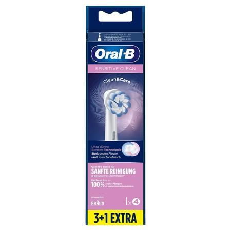 Oral-B Sensitive Clean Aufsteckbürsten mit   ultra-dünner Borsten-Technologie für unsere sanfteste Reinigung,   3+1Stück