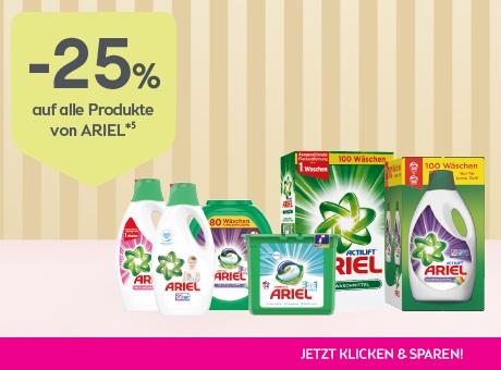 Sparen Sie 25% auf alle Produkte von Ariel