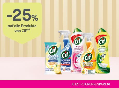 Sparen Sie 25% auf alle Produkte von Cif.