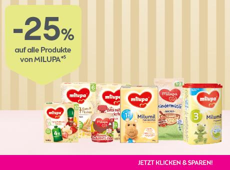 Sparen Sie 25% auf alle Produkte von milupa.
