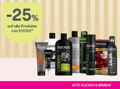 Sparen Sie 25% auf alle Produkte von syoss.