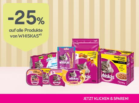 Sparen Sie 25% auf alle Produkte von Whiskas.
