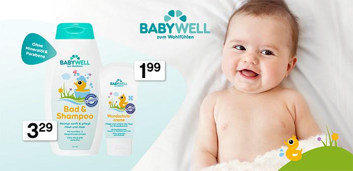 Babypuder, Babyöl, Waschlappen, Sonnencreme und Wundschutzcreme von babywell