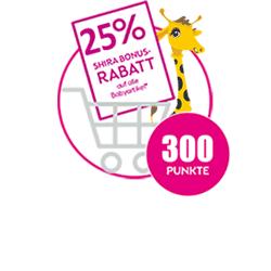 25% Shira Bonus Rabatt auf alle Babyprodukte für 300 Punkte