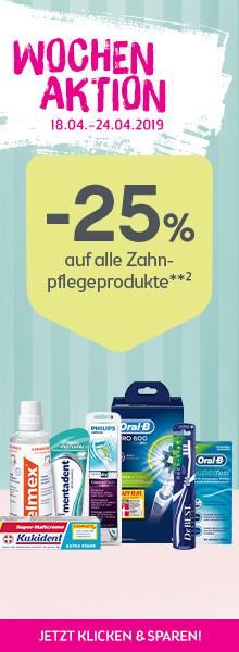 -25% auf alle Zahn- und Zahnpflegeprodukte