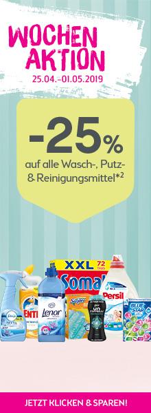 -25% auf alle Wasch-, Putz-, und Reinigungsmittel