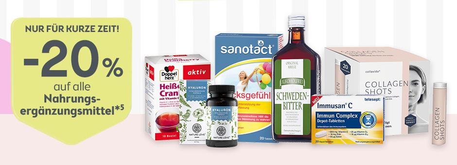 -25% auf Nahrungsmittelergänzung und Medizinprodukte