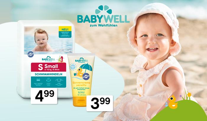 Sonnenroller, Baby Sonnencreme und Schwimmwindeln von BABYWELL